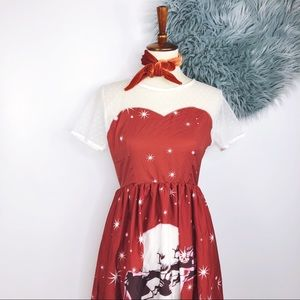 Dresses & Skirts - Retro Pinup Santa Christmas Novelty Print Dress M